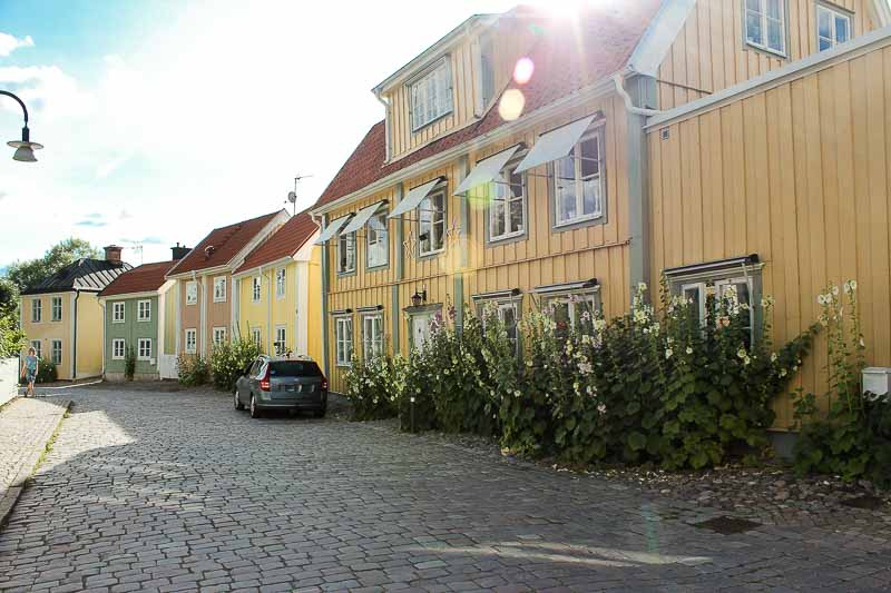 Straße mit Stockrosen in Soederkoeping