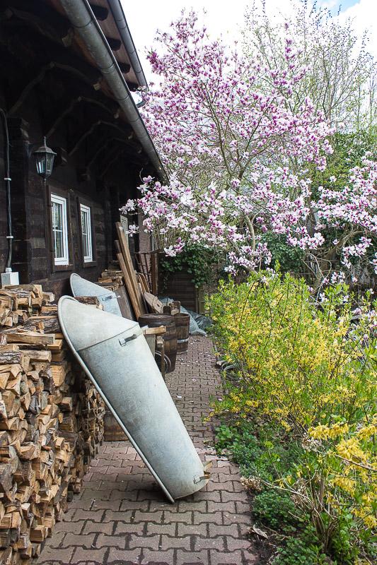 Hauswand im Freilichtmuseum in Lehde im Spreewald.