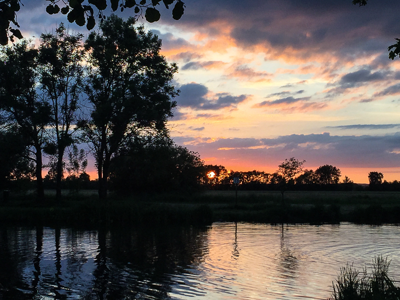Sonnenuntergang Campingplatz Hammestrand Worpswede.
