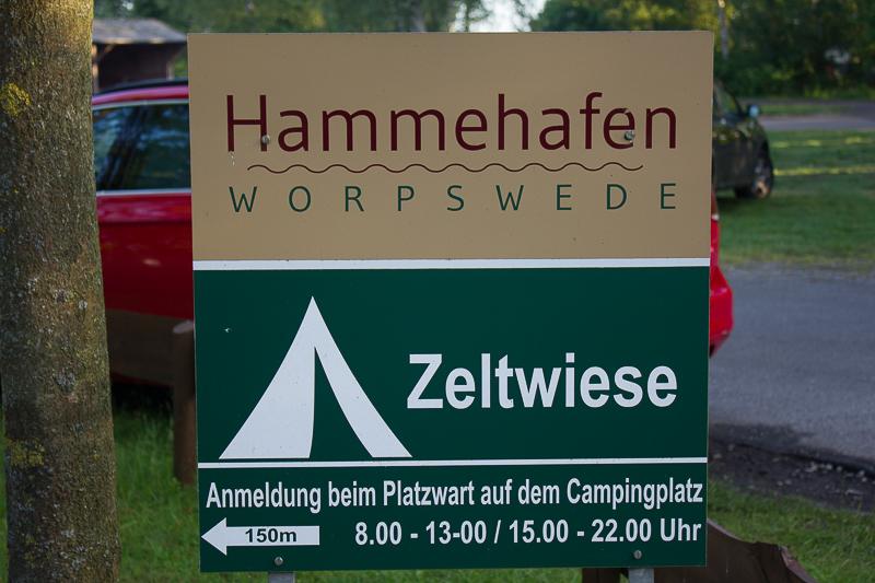 Schild Zeltwiese Hammehafen Worpswede Campingplatz